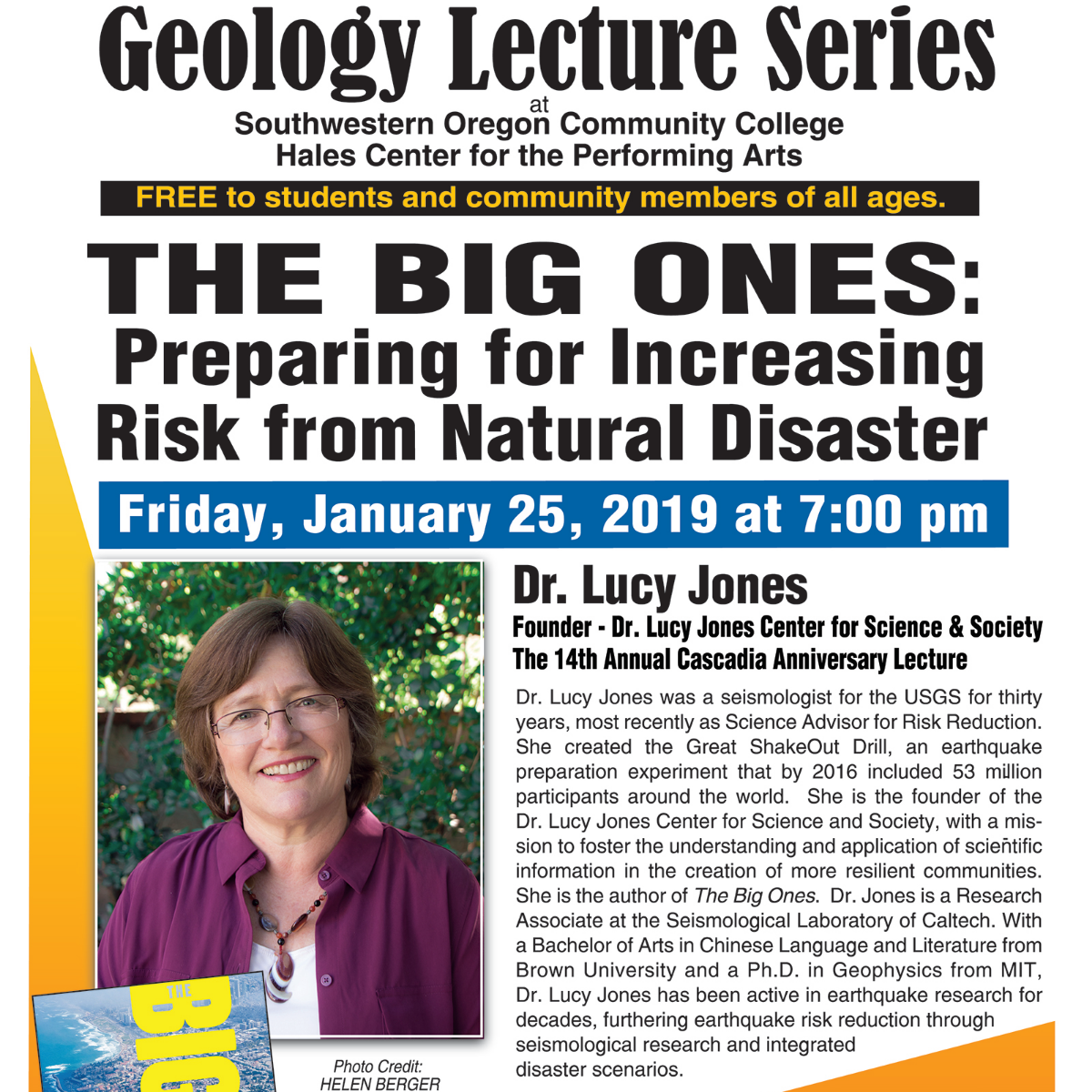 Geology Lecture Series poster. Photo: SWOCC Geology Dept
