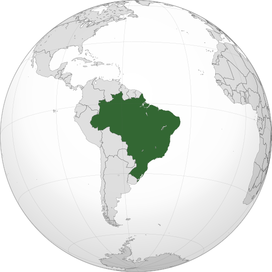 Brazil located on a globe. Photo: Wikipedia