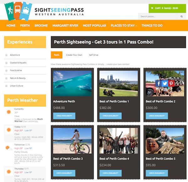 Sightseeing Pass screen - Perth