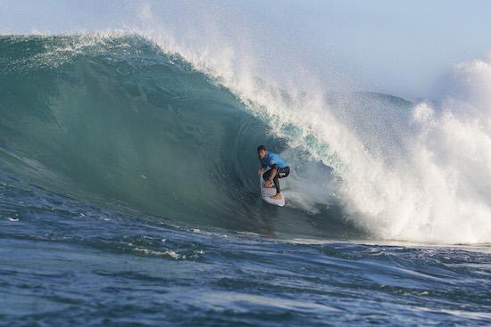 Jay Davies surfing a barrel