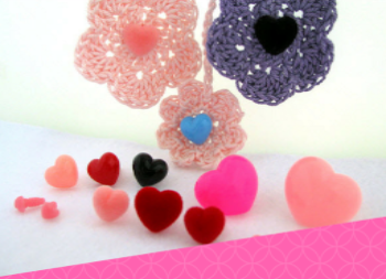 Fuzzy Flock Heart Nose, Button, Eye (FHN-1) Size 13mm to 18mm