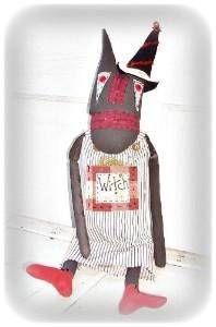 Folk Art Halloween Witch Cat Doll in Etsy Shop