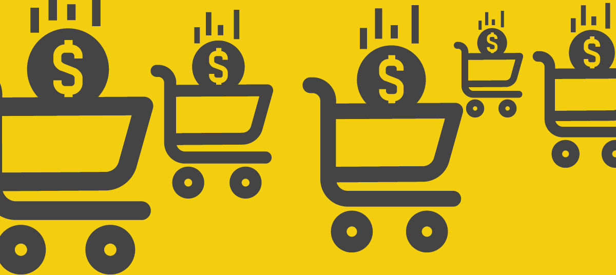 Shopping carts with dollar coins dropping in them