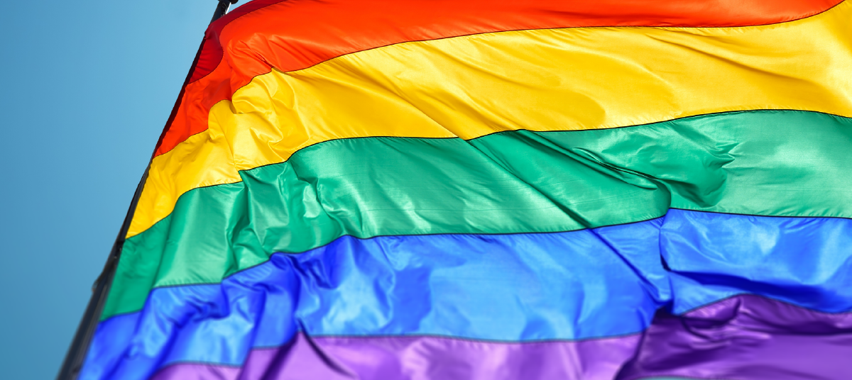 LGBTQ Flag blowing in the wind