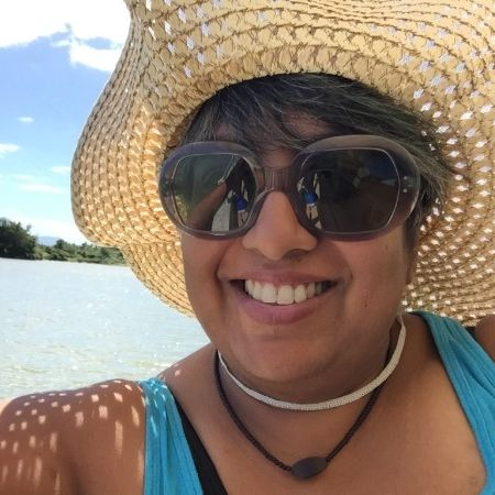 Minal selfie on a speedboat in the Navua River, headed to Beqa Island