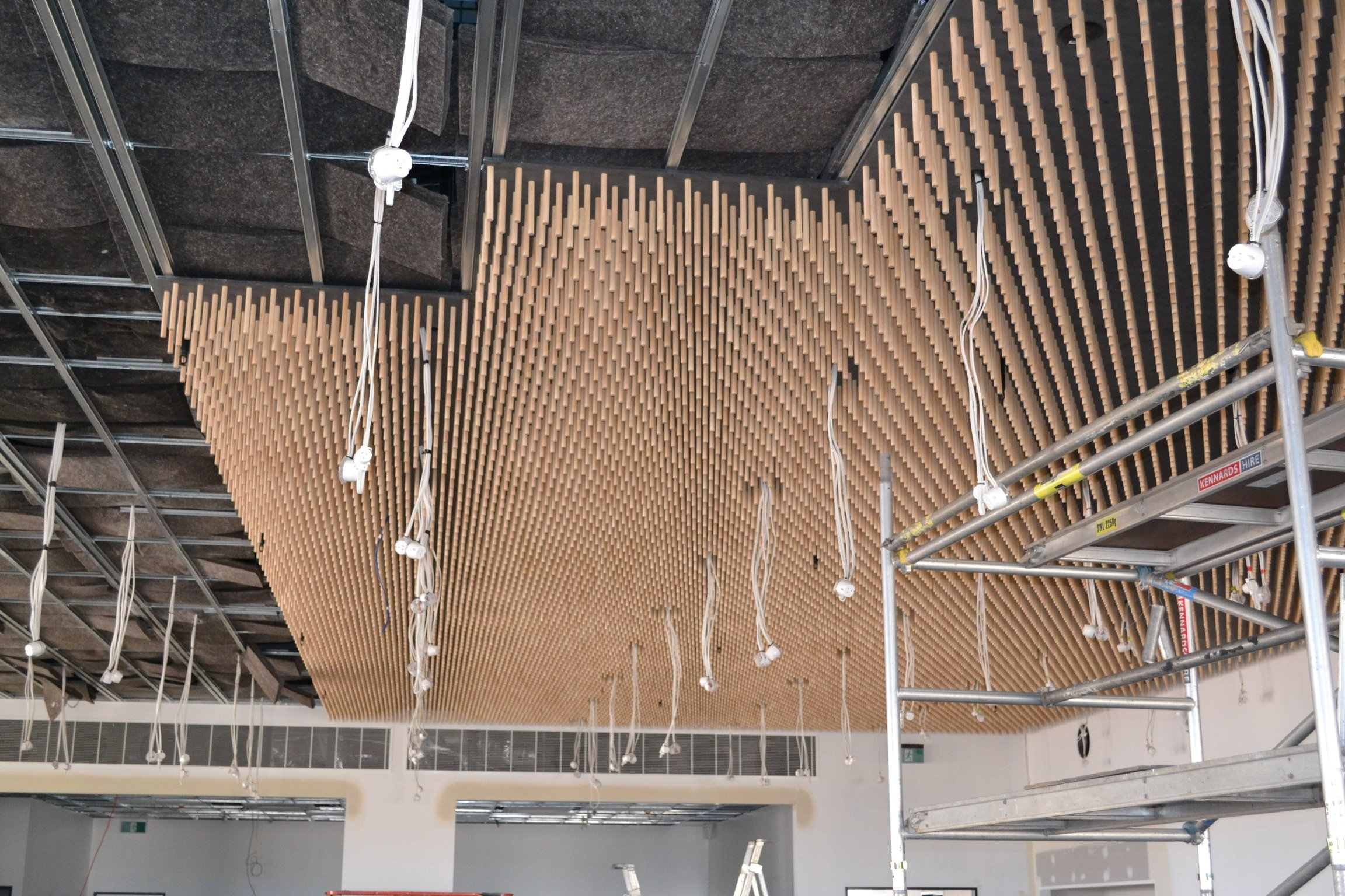 Aldinga Library Ceiling panels being installed