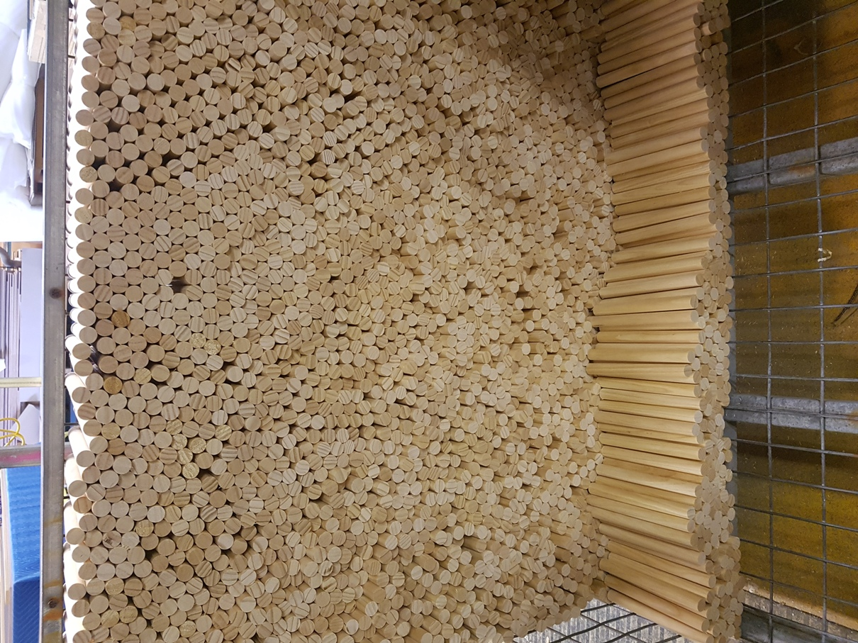 Cut Pine Dowels for Aldinga Library Ceiling