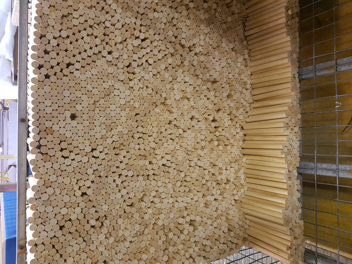 Cut Pine Dowels for Aldinga Library Ceiling