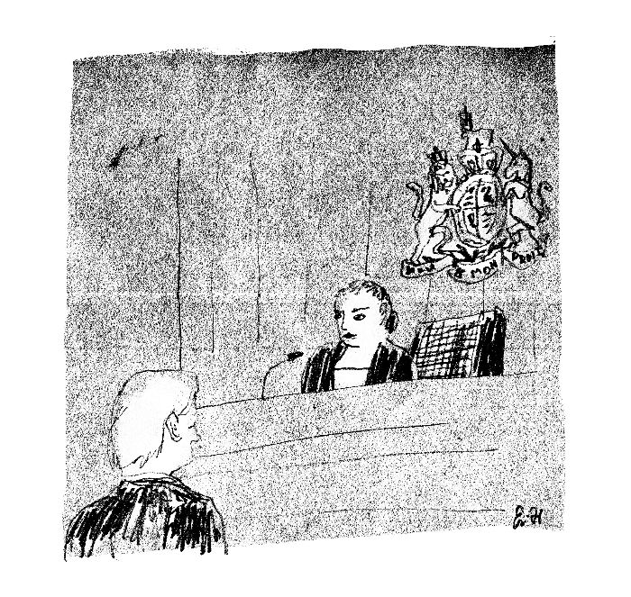 Julian Assange in Court, illustration by Eric Hansen