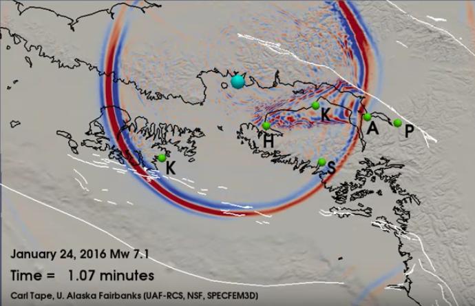 SPECFEM simulation M7.1 Iniskin