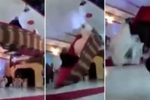 بالفيديو: عرسان تركيان ينزفان في سفينة و تسقط على المدعوين!