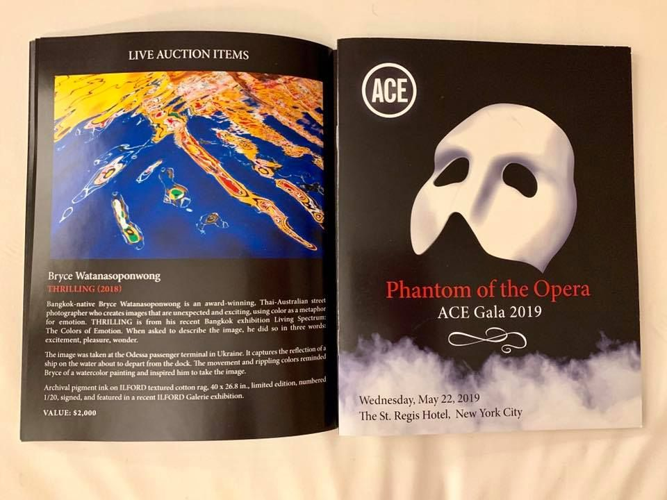 An event booklet of the ACE Gala 2019 with details of THRILLING described as one of the live auction items.