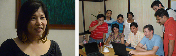 Lizabel Holganza (right) and members of the 2008 CSC team with ICT Davao members.