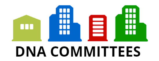"Vector Image of buildings with the words ""DNA Committees"" below them."