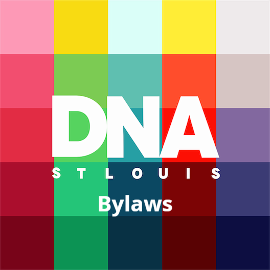 "Colorful block image with the words ""DNA St Louis Bylaws"" in white letters."