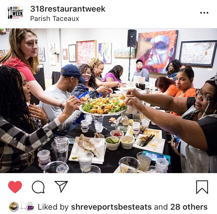 Diners celebrate during a 318 Restaurant Week party at Parish Taceaux.