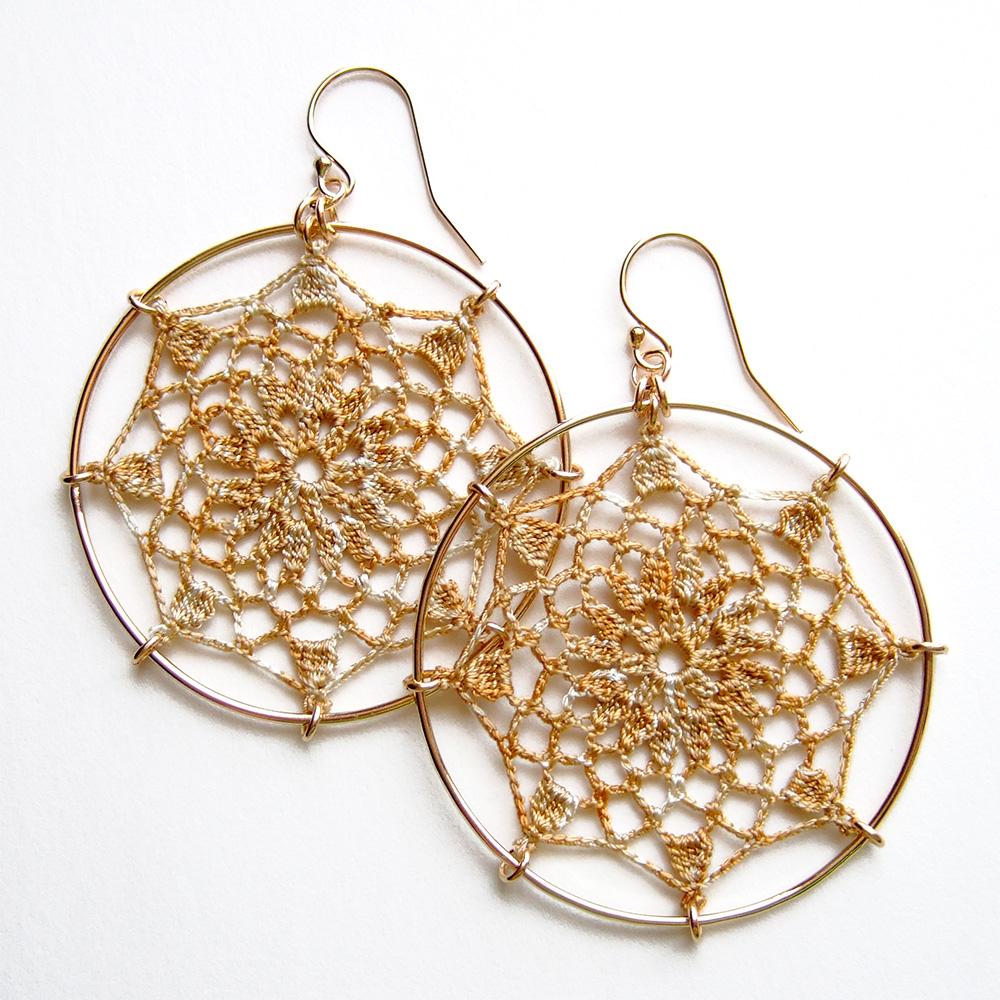 Mandala, French vanilla silk thread, 14K gold-filled