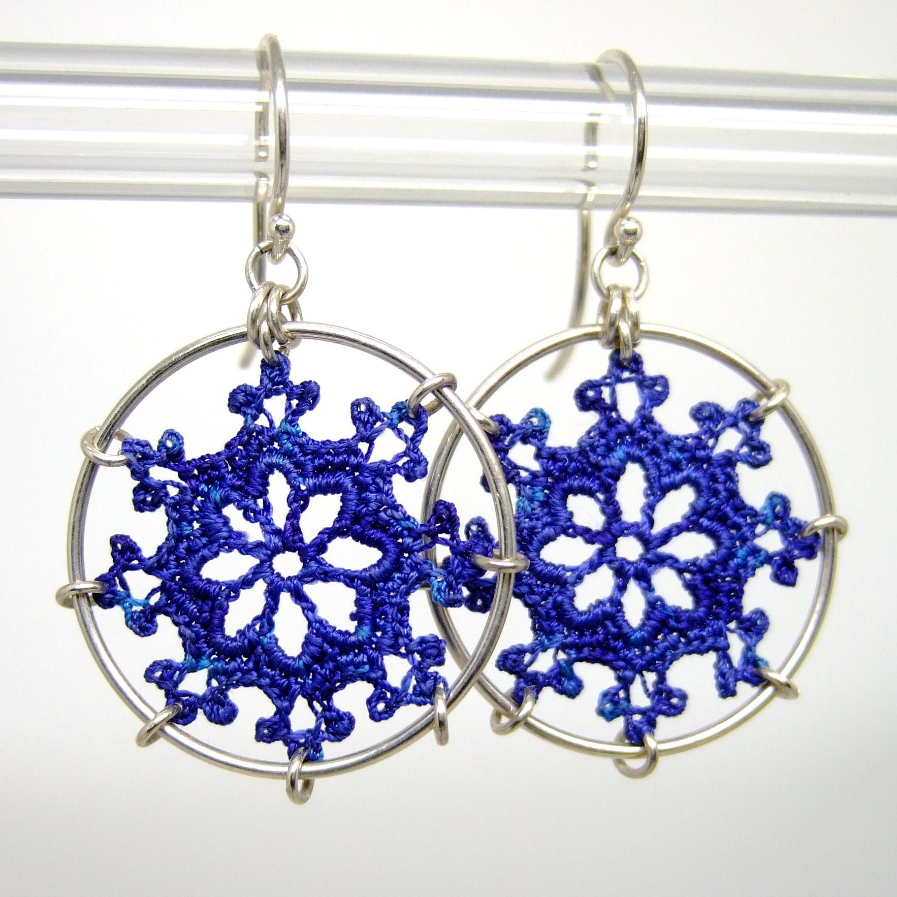 Blue silk nautical earrings