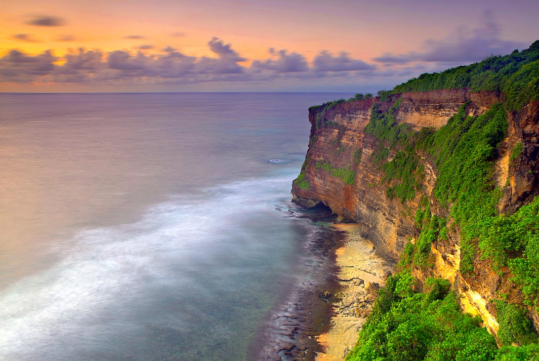the beaches and cliffs of Bali