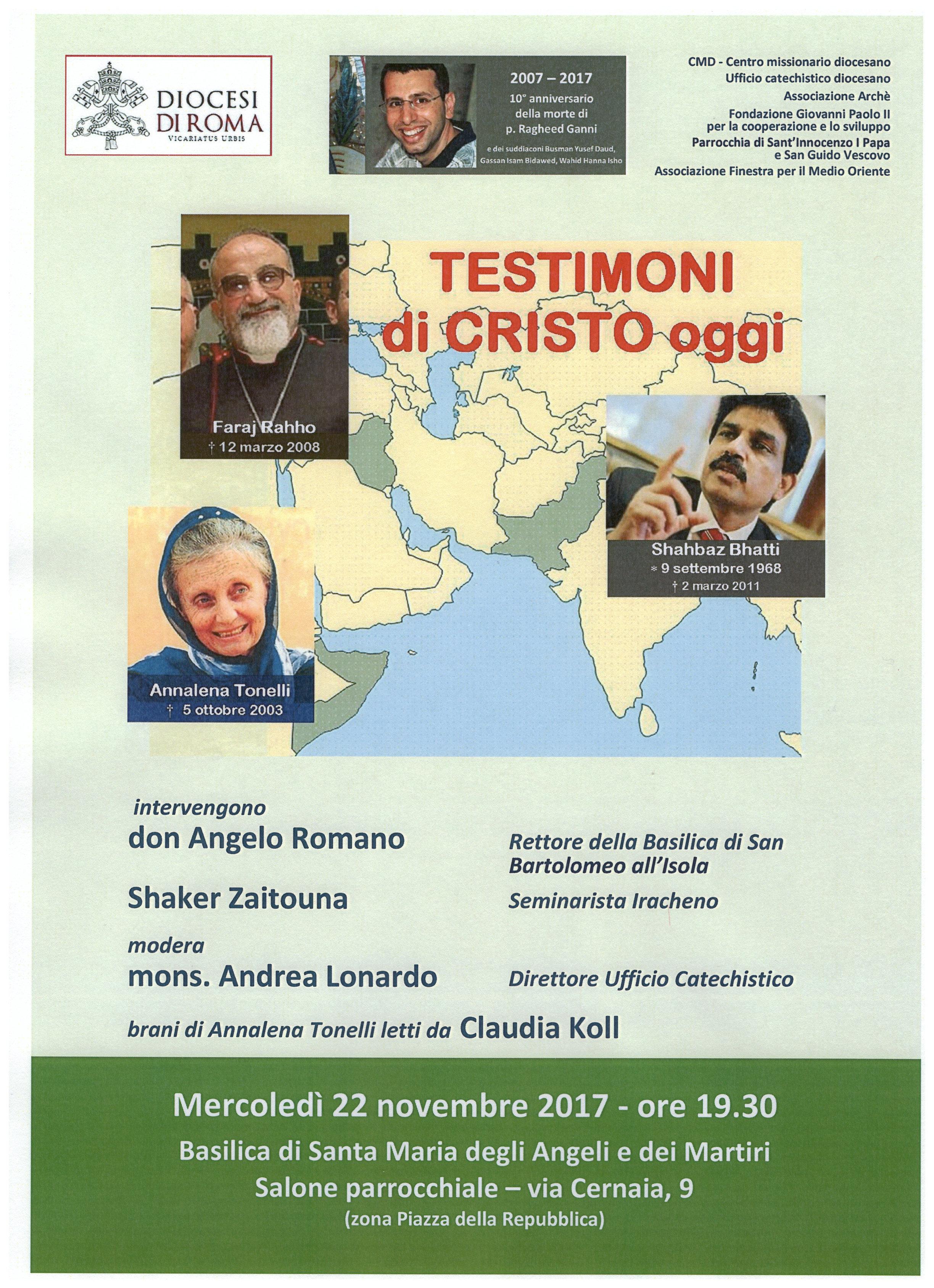 22/11/2017 INCONTRO TESTIMONI DI CRISTO OGGI