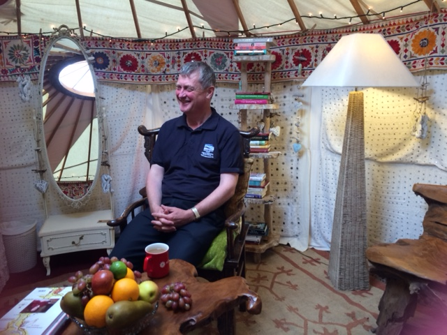 Dave chilling out in the yurt