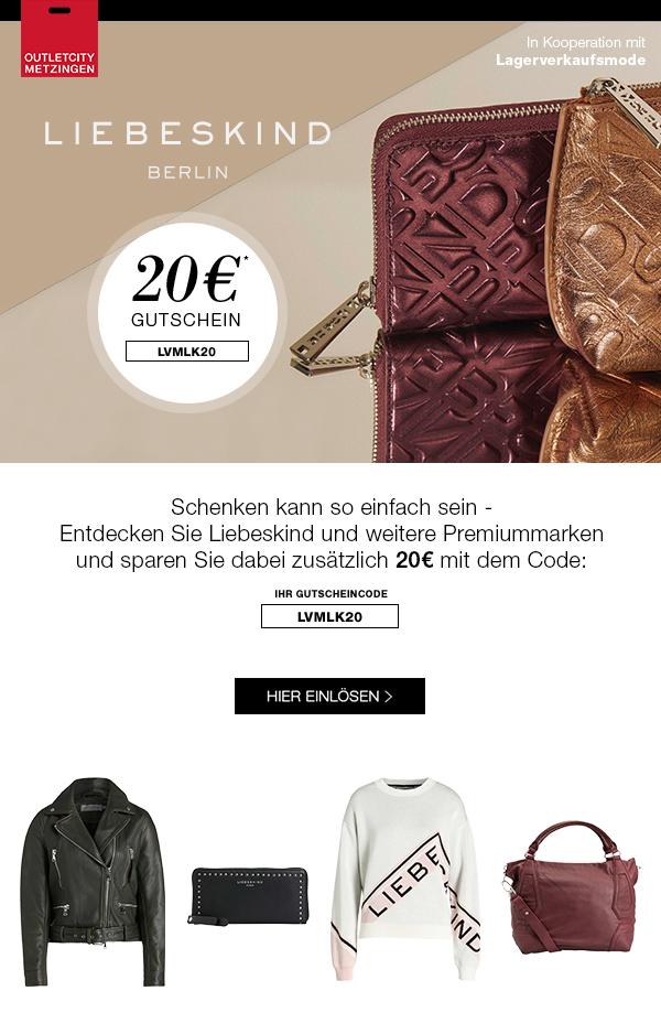 LIEBESKIND bis -50% + 20€ Gutschein bei OUTLETCITY.COM