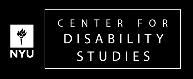 NYU Center for Disability Studies logo. With NYU torch, white font on a black background.