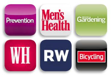 Logos for Rodale's magazine titles