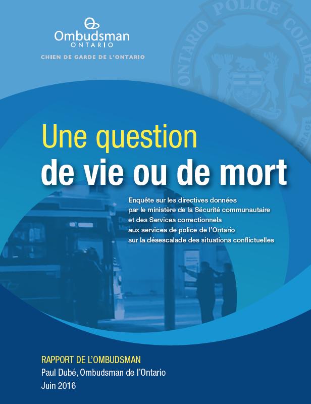 Page titre du rapport, Une question de vie ou de mort