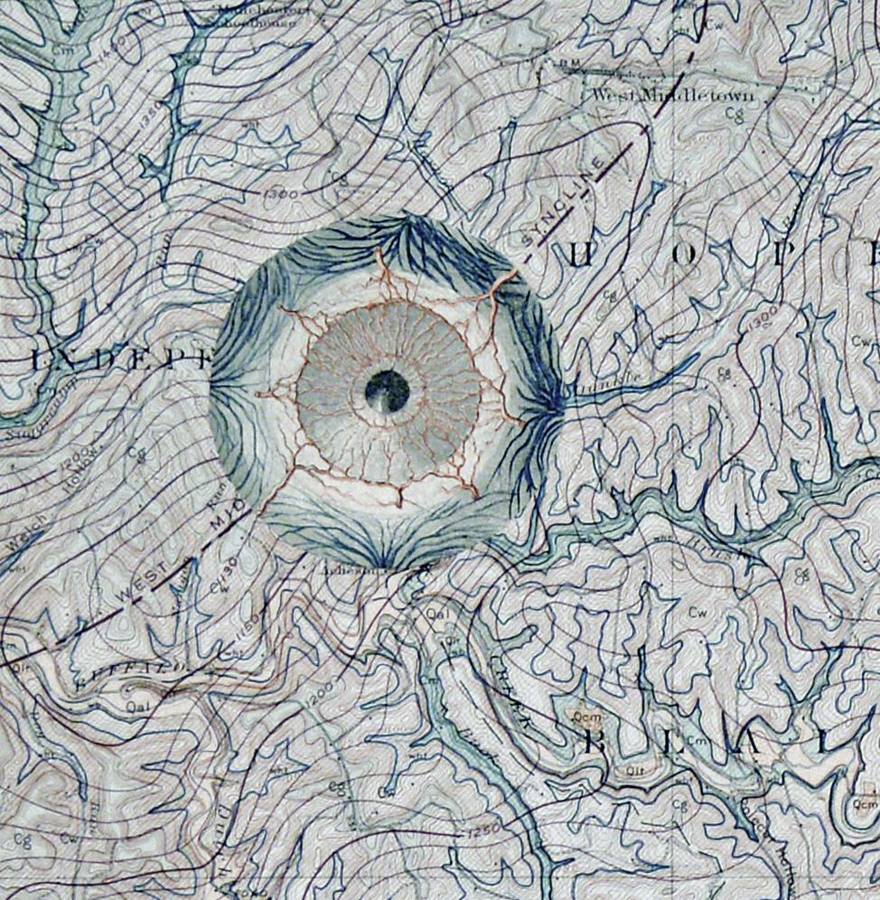 Margaret Whiting, US Geological Survey - Pennsylvania (Detail), Survey Map, human anatomy Illustration of eyeball