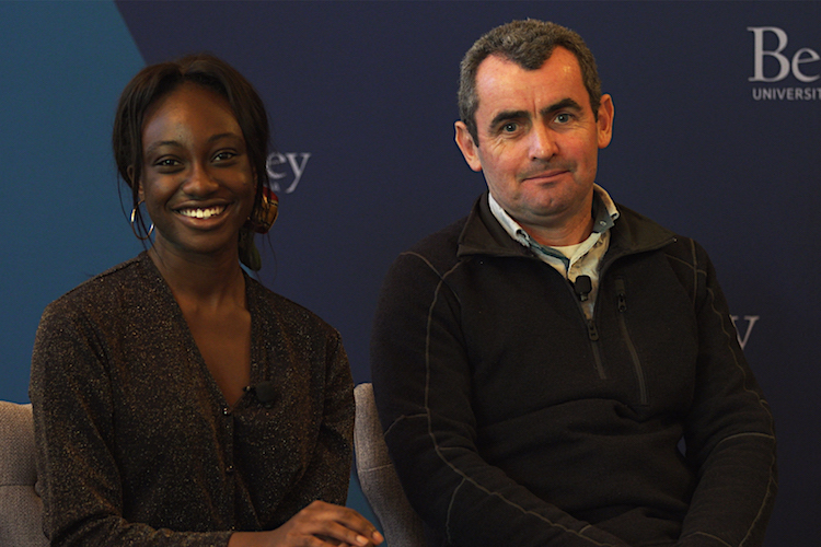 Oliver O'Reilly, head of UC Berkeley's faculty senate, and Amma Sarkodee-Adoo, president of the ASUC, look at the camera