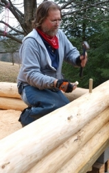 Dave driving dowels at the Rausch Gap Shelter (Photo by Brian Swisher)
