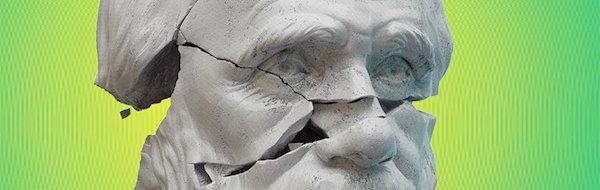 Chipped Charles Darwin Statue