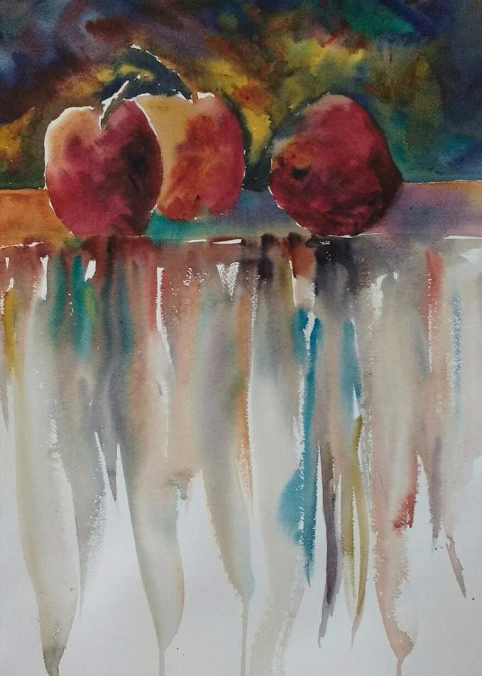 Apples a la Blasdell. Unframed watercolor $95.