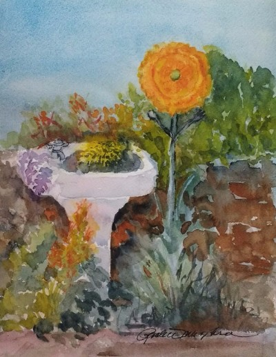 Playful Garden, plein air watercolor