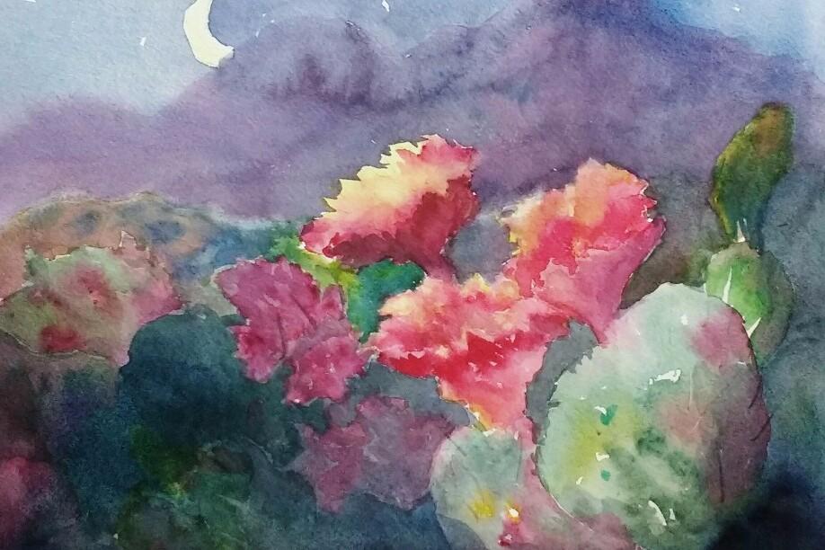 Cactus by Moonlight.  Unframed $95