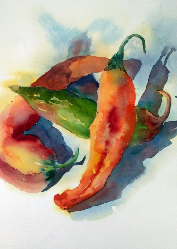 Chile Trio, watercolor painting