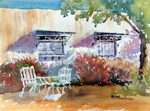 Mecca Lounge Morning, plein air watercolor