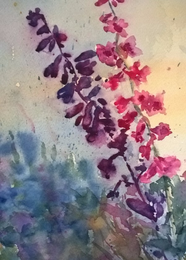 """Spring Morning. Plein air watercolor framed. 8""""x 10"""" auction at IMA"""