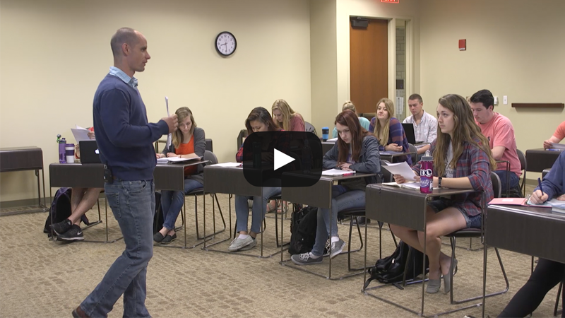 Kansas State University Professor Michael Wesch in action in his classroom.