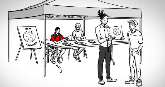 An animated drawing of students presenting findings from their Civic Learning project (ACUE's Course in Effective Teaching Practices)