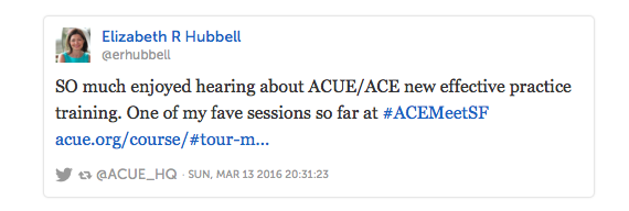 Tweet from Elizabeth R Hubbell about the ACUE-ACE concurrent session