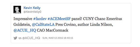 Tweet from Kevin Kelly about the ACUE-ACE concurrent session