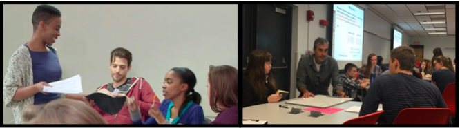 two panels of ACUE faculty interacting with students