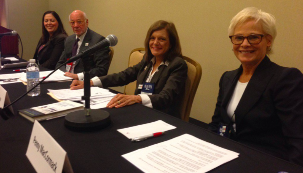 Penny MacCormack, Linda Nilson, Matthew Goldstein, and Deb Seymour sit for a panel discussion at ACE's annual meeting