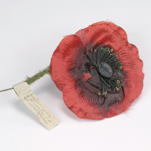A 'Remembrance Day' poppy belonging to Colonel Wilson of the Salvation Army.