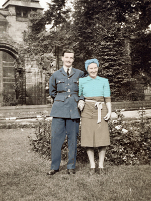 Hand-coloured photo of Bernard and Cicely on their wedding day
