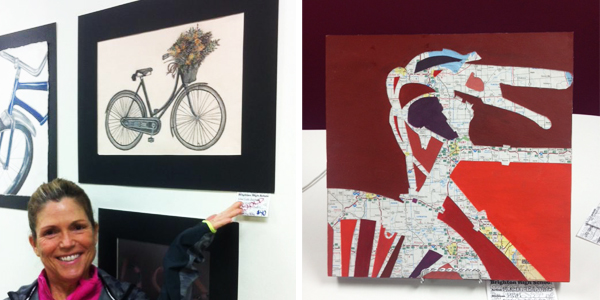 Brighton High School student bicycle art at Hometown Bicycles