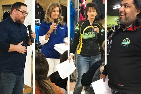 Hometown Bicycles Where to Ride in Michigan Potluck Party and Clinic speakers - Matt Fitzhorn, Kelly Hibbert of Bike Vacation Tours, Laura Faunce, and Shaun Bhajan