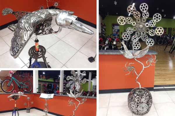 Sculptures made of repurposed bicycle parts by Don Strauss